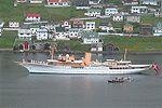 Royal Danish ship Dannebrog in Vagur, Faroe Islands.jpg